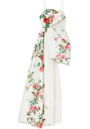 Alex Perry - Reid Draped Tulle-trimmed Floral-print Satin-crepe Gown - White