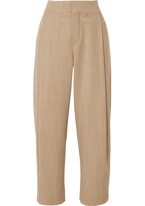 Chloé - Cropped Pleated Wool-blend Tapered Pants - Stone
