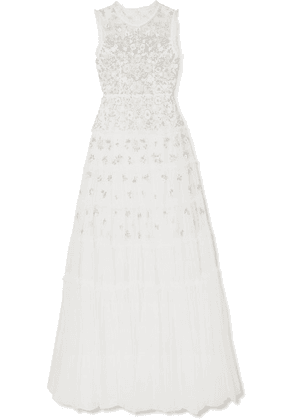 Needle & Thread - Ruffled Embellished Tulle Gown - Ivory