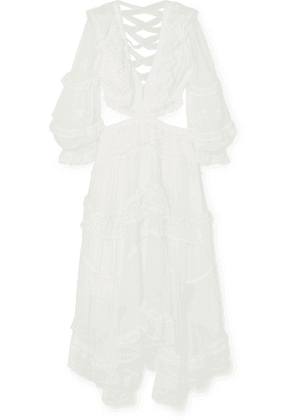 Zimmermann - Suraya Cutout Ruffled Crochet-trimmed Swiss-dot Silk Maxi Dress - Ivory