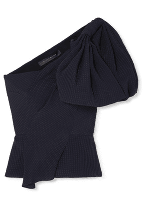 Roland Mouret - Bow-detailed Silk-jacquard Top - Navy