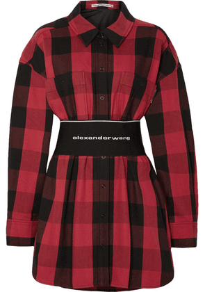 Alexander Wang - Belted Checked Cotton-twill Shirt - Red