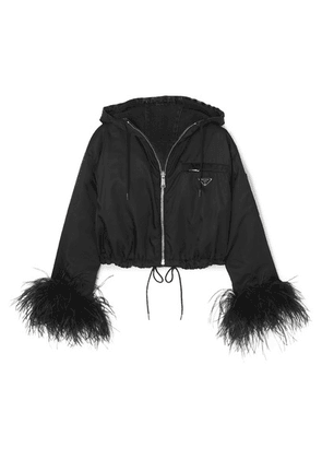 Prada - Reversible Cropped Feather-trimmed Denim And Nylon Jacket - Black