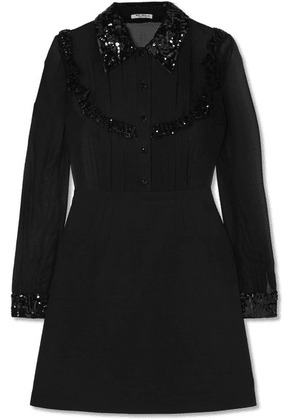 Miu Miu - Sequined Grosgrain-trimmed Silk-chiffon And Wool-blend Mini Dress - Black