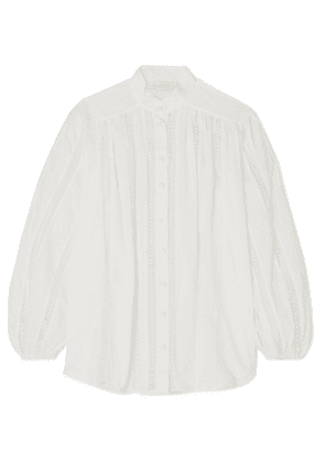 Zimmermann - Suraya Lace-trimmed Swiss-dot Cotton-voile Blouse - Ivory