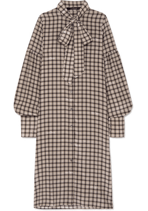 Rokh - Pussy-bow Houndstooth Silk Crepe De Chine Dress - Beige