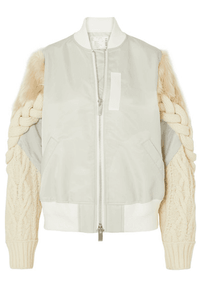 Sacai - Shell, Cable-knit Wool-blend And Faux Fur Bomber Jacket - Gray
