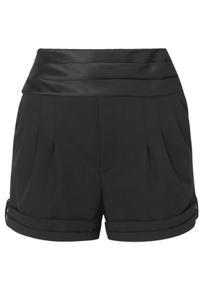 SAINT LAURENT - Satin-trimmed Wool Grain De Poudre Shorts - Black