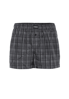 Logo-embroidered checked shorts