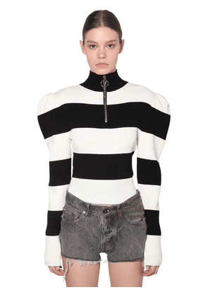 Fitted Viscose Blend Knit Sweater