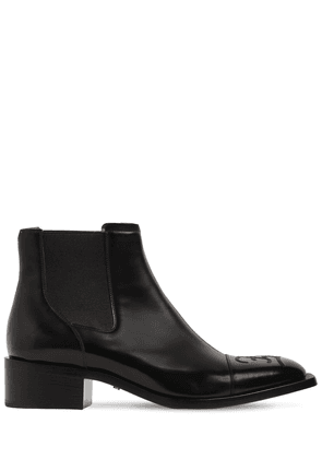Leather Chelsea Boots W/logo Embroidery