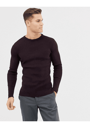 New Look muscle fit ribbed jumper in burgundy