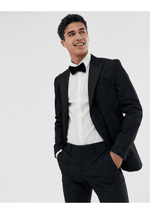 Jack & Jones premium tuxedo suit jacket with printed paisley jacquard in skinny fit