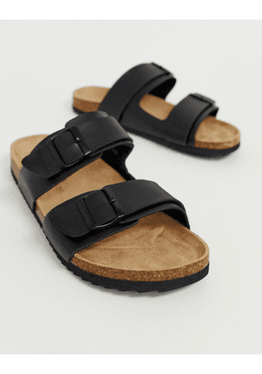 Brave Soul Double Strap Sandals In Black