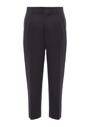 Ami - High Rise Cropped Wool Trousers - Mens - Navy
