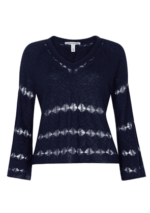 Pointelle Wide Sleeves Navy Knit