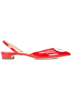 Fabio Rusconi buckled pointed slingback flats - Red