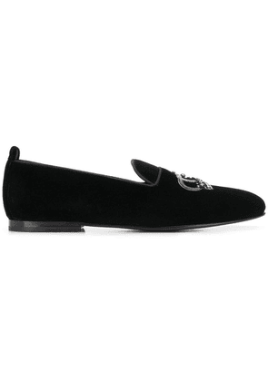 Dolce & Gabbana crown embroidery loafers - Black