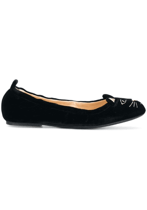 Charlotte Olympia kitten embroided ballerina shoes - Black