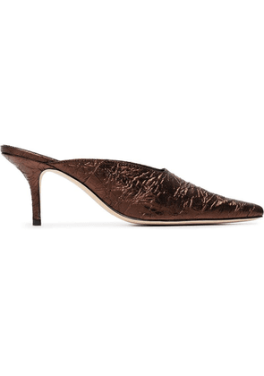 Dorateymur metallic bronze groupie 70 leather mules - Brown