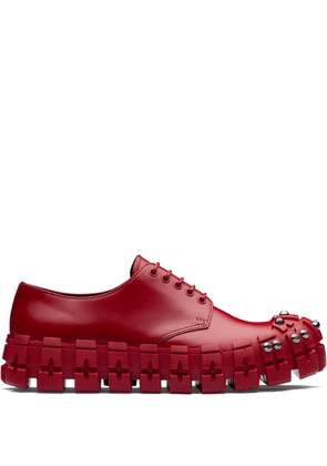 Prada studded chunky derby shoes - Red