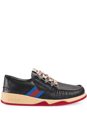 Gucci Leather lace-up shoe with Web - Black