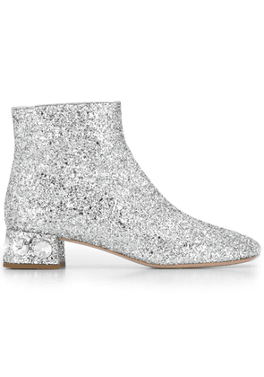 Miu Miu glitter and crystal embellished ankle boots - Silver