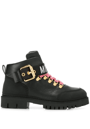 Moschino logo tape ankle boots - Black