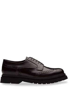 Prada Brushed leather laced derby shoes - Brown