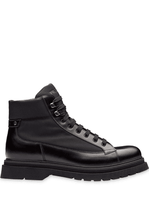 Prada panelled lace-up boots - Black