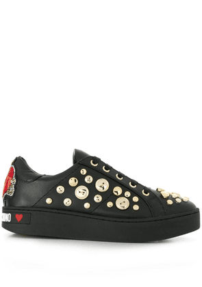 Love Moschino button embellished sneakers - Black