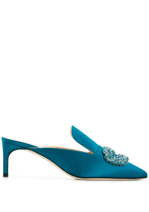 Giannico crystal buckle pointed mules - Blue
