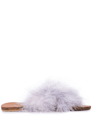 Brother Vellies fluff detail slides - Purple
