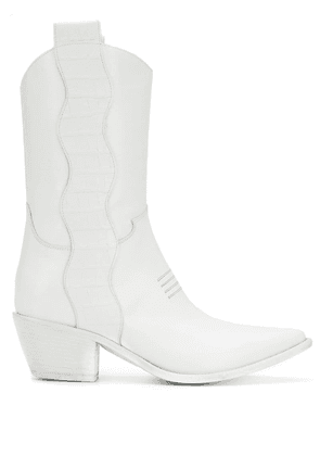 Francesca Bellavita pointed texan boots - White