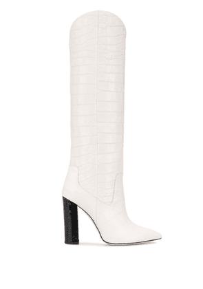 Francesca Bellavita knee length embossed boots - White
