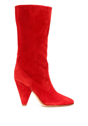 Buttero panelled mid-calf booties - Red