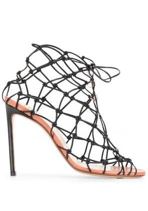 Francesco Russo knotted fishnet sandals - Black