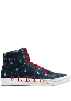 Philipp Plein Original hi-top denim sneakers - Blue