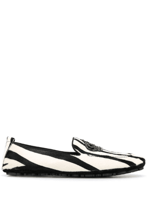 Dolce & Gabbana Crown striped loafers - Black