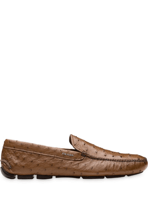 Prada ostrich leather driver loafers - Brown