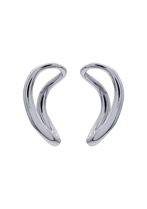 Charlotte Chesnais metallic silver small slide earrings