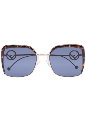 Fendi Eyewear FF logo-frame square sunglasses - Brown