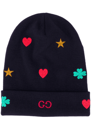 Gucci contrasting embroidery wool beanie - Blue