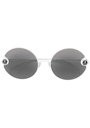 Christopher Kane Eyewear pearl embellished round sunglasses - White