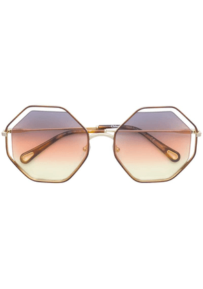 Chloé Eyewear hexagonal shaped sunglasses - Brown