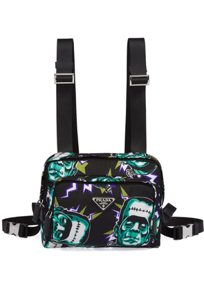 Prada Frankenstein print shoulder bag - Black