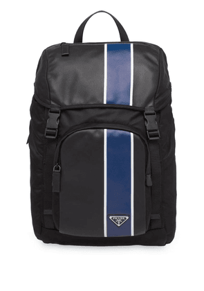 Prada striped large backpack - Black