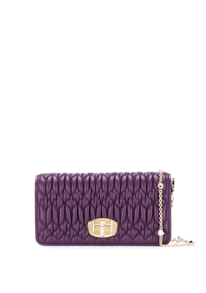 Miu Miu Matelassé leather cross-body bag - Purple