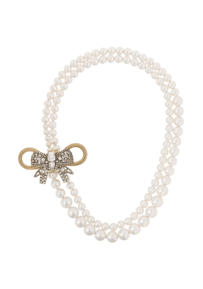Miu Miu pearl embellished bow necklace - White