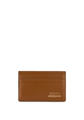 Gucci Leather card case with Gucci logo - Brown
